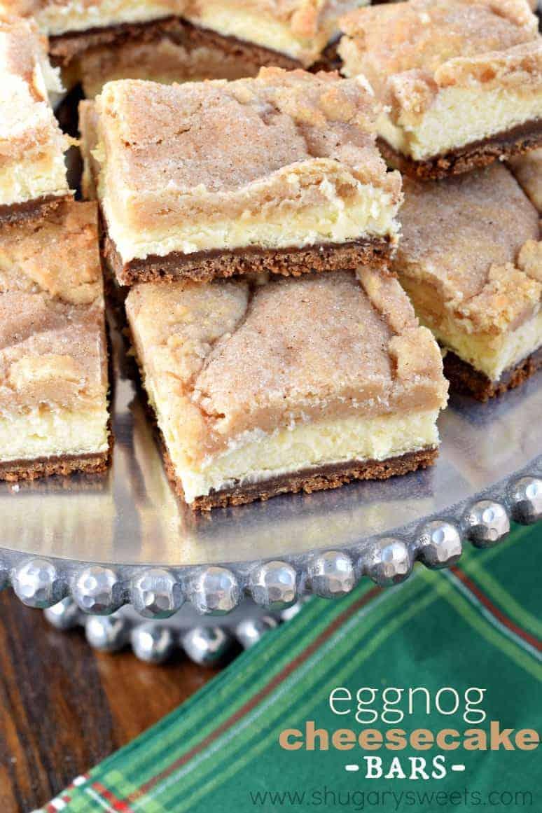 Eggnog Cheesecake Bars - Shugary Sweets