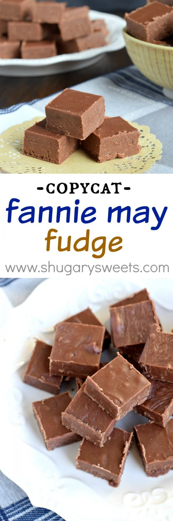 Rich, decadent, copycat Fannie May Fudge. It's the perfect chocolate fudge recipe for any time of year, no candy thermometer needed!