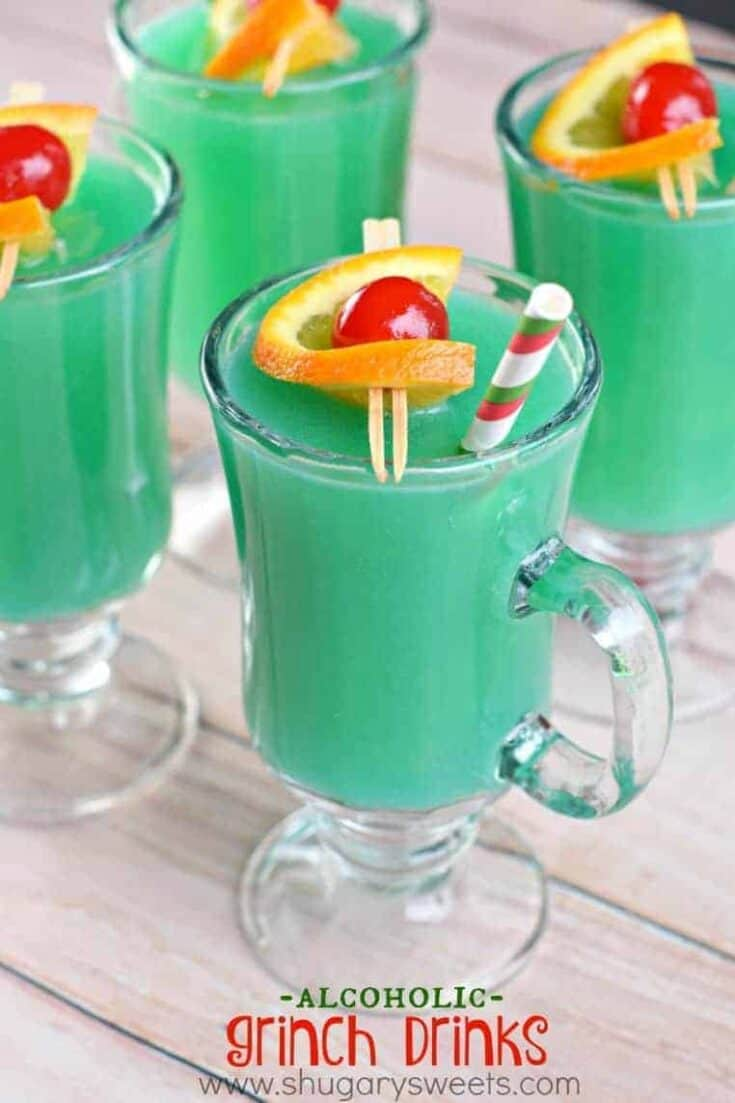 Festive holiday beverage, this Grinch Drink will be a crowd pleaser!