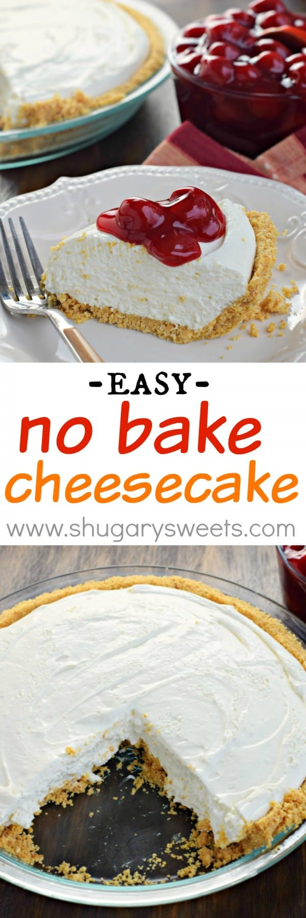Easy to make, this No Bake Cheesecake is perfect any time of year. For a little more sweetness, top it with some Cherry Pie filling!