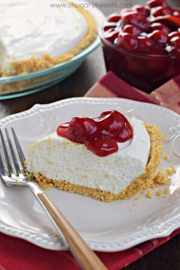 Easy to make, this No Bake Cheesecake recipe is perfect any time of year. For a little more sweetness, top it with some Cherry Pie filling!