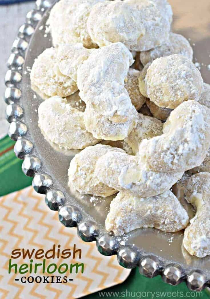 Snowball Cookies or Swedish Heirloom Cookies are delicious, buttery cookies packed with almonds or pecans and rolled in powdered sugar.