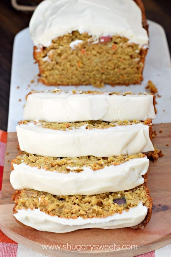 As if this Apple Banana Carrot Bread wasn't sweet enough, adding the cream cheese frosting takes this bread to a whole new delicious level!