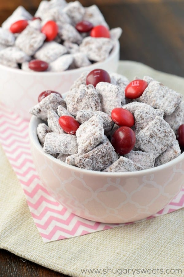 Chocolate Cherry Muddy Buddies (or Puppy Chow) Recipe Is A Fun, Sweet Snack