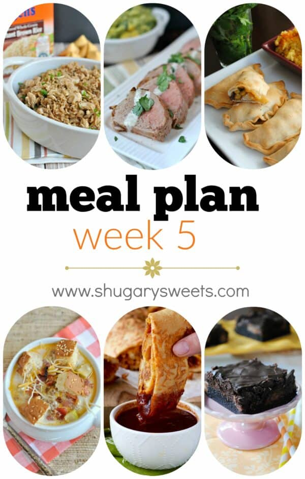 Print the recipes and head to the grocery store with this weeks Meal Plan! Dinners include: Chicken Fried Rice, Chipotle Pork Tenderloins, Baked Empanadas, Bacon Cheeseburger Soup, BBQ Pizza Roll and Milky Way Brownies for dessert!