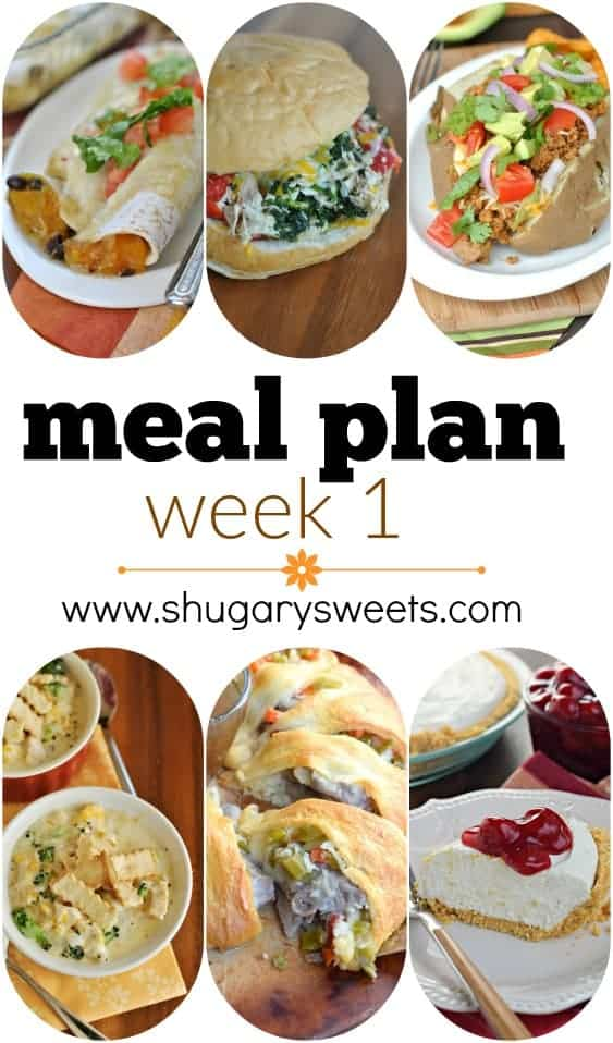 Weekly Meal Plan #1: Butternut Squash Enchiladas, Slow Cooker Italian Chicken, Turkey Taco Boats, Chicken Pot Pie Soup, Italian Beef Ring and No Bake Cheesecake for dessert!