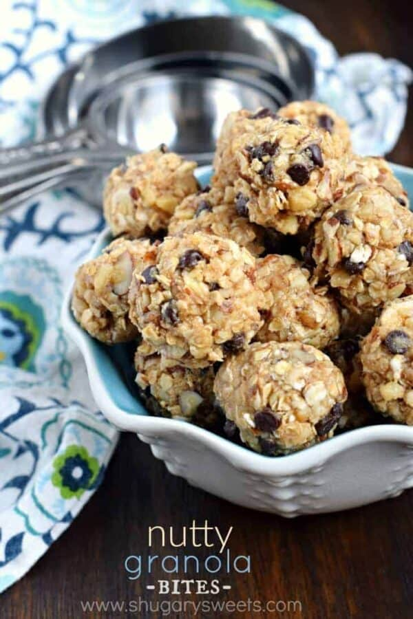 Whether you are looking for a post workout snack, or an on-the-go breakfast, these no-bake Nutty Granola Bites are packed with flavor and protein!