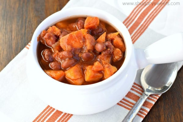 A delicious, hearty meal with NO meat. This vegan Smoky Sweet Potato Chili is the perfect comfort food!