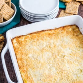Artichoke dip baked in a square dish and served with triscuits.