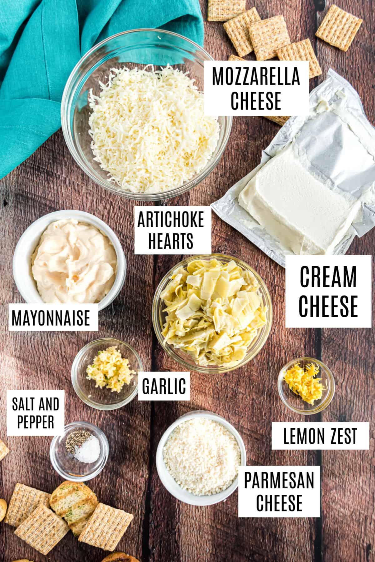 Ingredients needed to make easy artichoke dip.