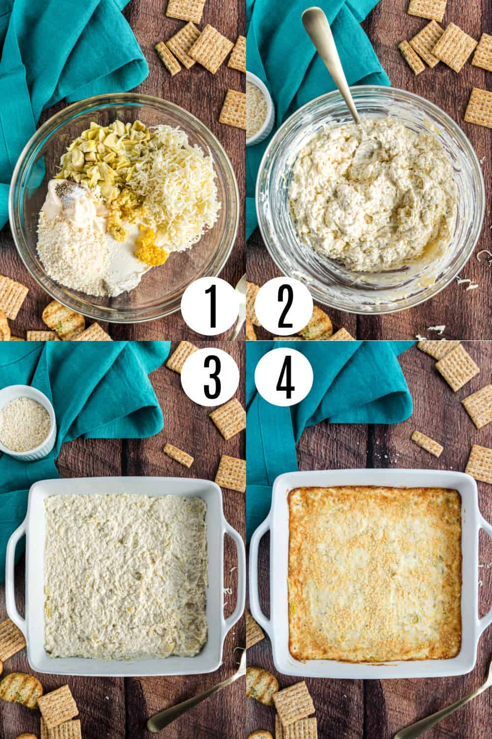 Step by step photos showing how to make artichoke dip.