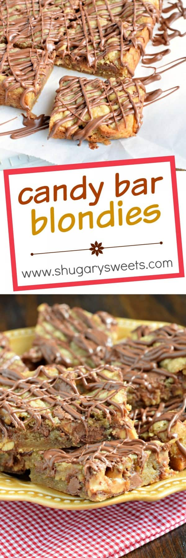 Delicious, chewy Candy Bar Blondies! This easy dessert recipe is made in one bowl, no mixer required!
