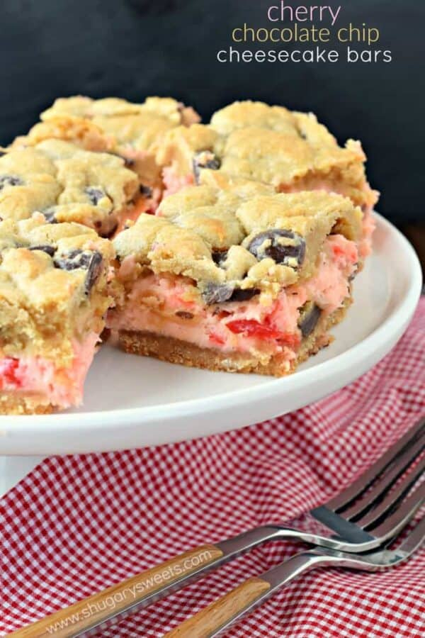 These Cherry Chocolate Chip Cheesecake Bars have a vanilla cookie crust and a creamy cherry cheesecake filling! But, don't forget about the sweet chocolate chip cookie topping to take this recipe to the next level of deliciousness!