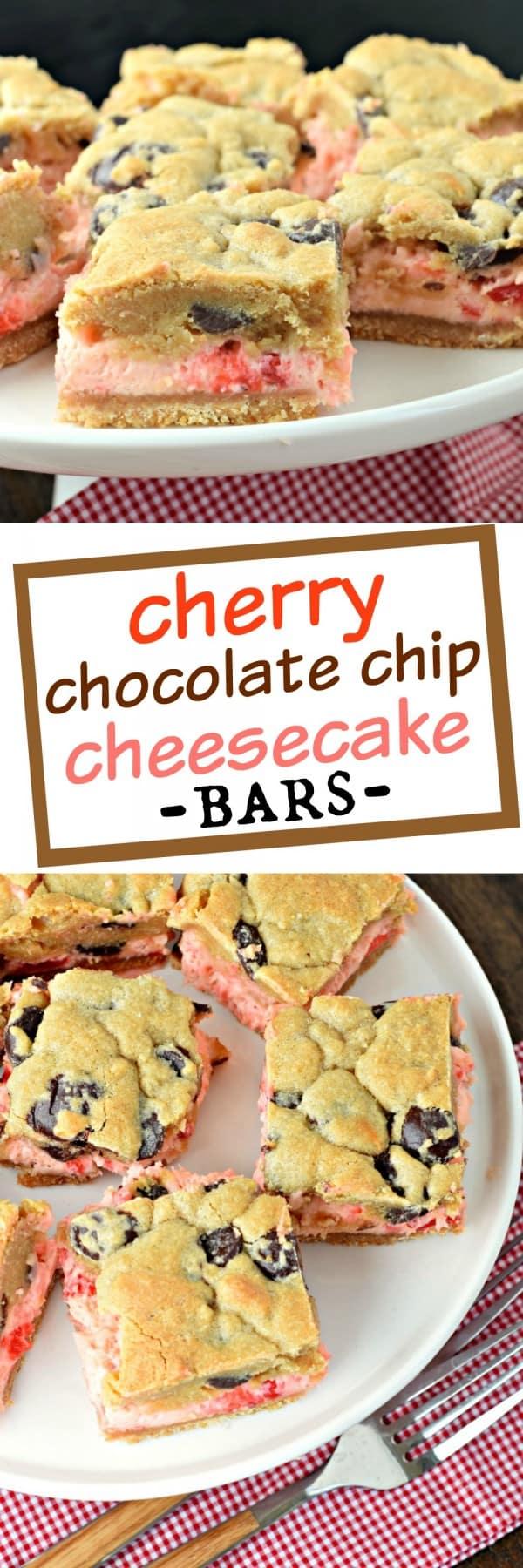 Cherry Chocolate Chip Cheesecake Bars - Shugary Sweets