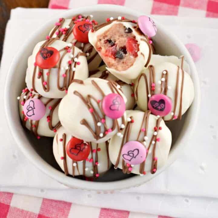 Cherry Chocolate Chip Cookie Dough Truffles