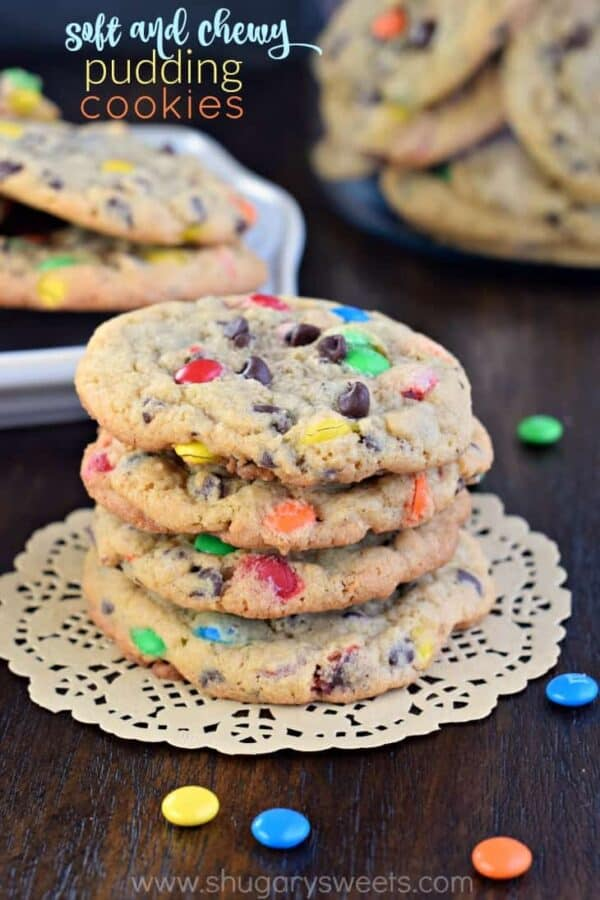 These delicious, soft and chewy M&M Pudding Cookies are the perfect texture and flavor in a sweet cookie recipe!