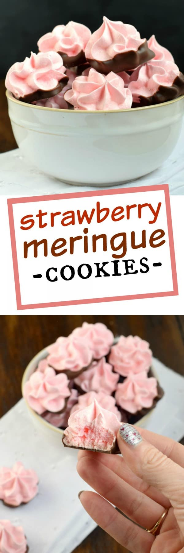 Delicious, festive, melt in your mouth Strawberry Meringues dipped in chocolate! My favorite cookie recipe!