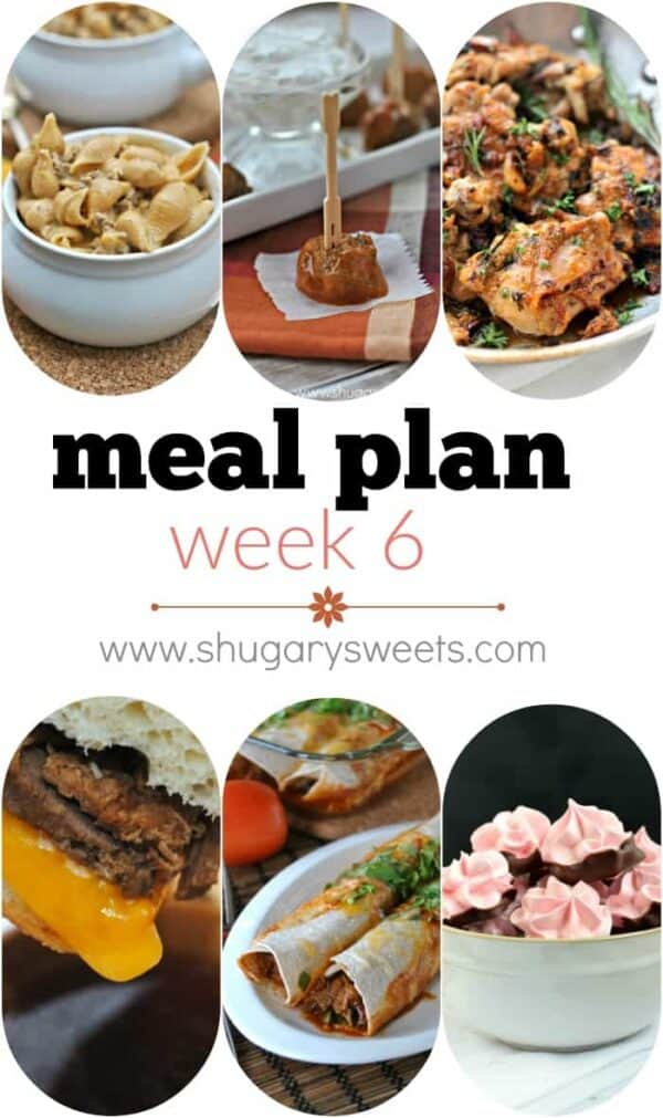 Print the recipes and head to the grocery store with this weeks Meal Plan! Dinners include: Stove top Beef Enchilada Mac & Cheese, Buffalo Wing Meatballs, Garlic Sauce Chicken Thighs, Slow Cooker French Dip Sandwiches, Beef Enchiladas and Strawberry Meringue Cookies for dessert!