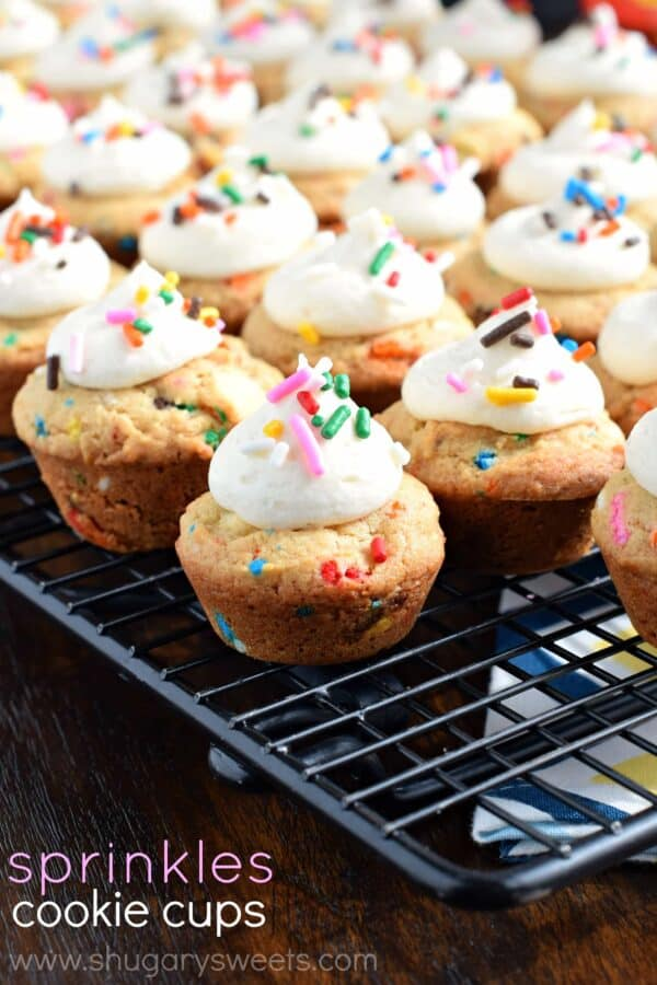 These Frosted Cookie Cups with Sprinkles are the perfect, chewy dessert! You're going to love the texture of these cookies!