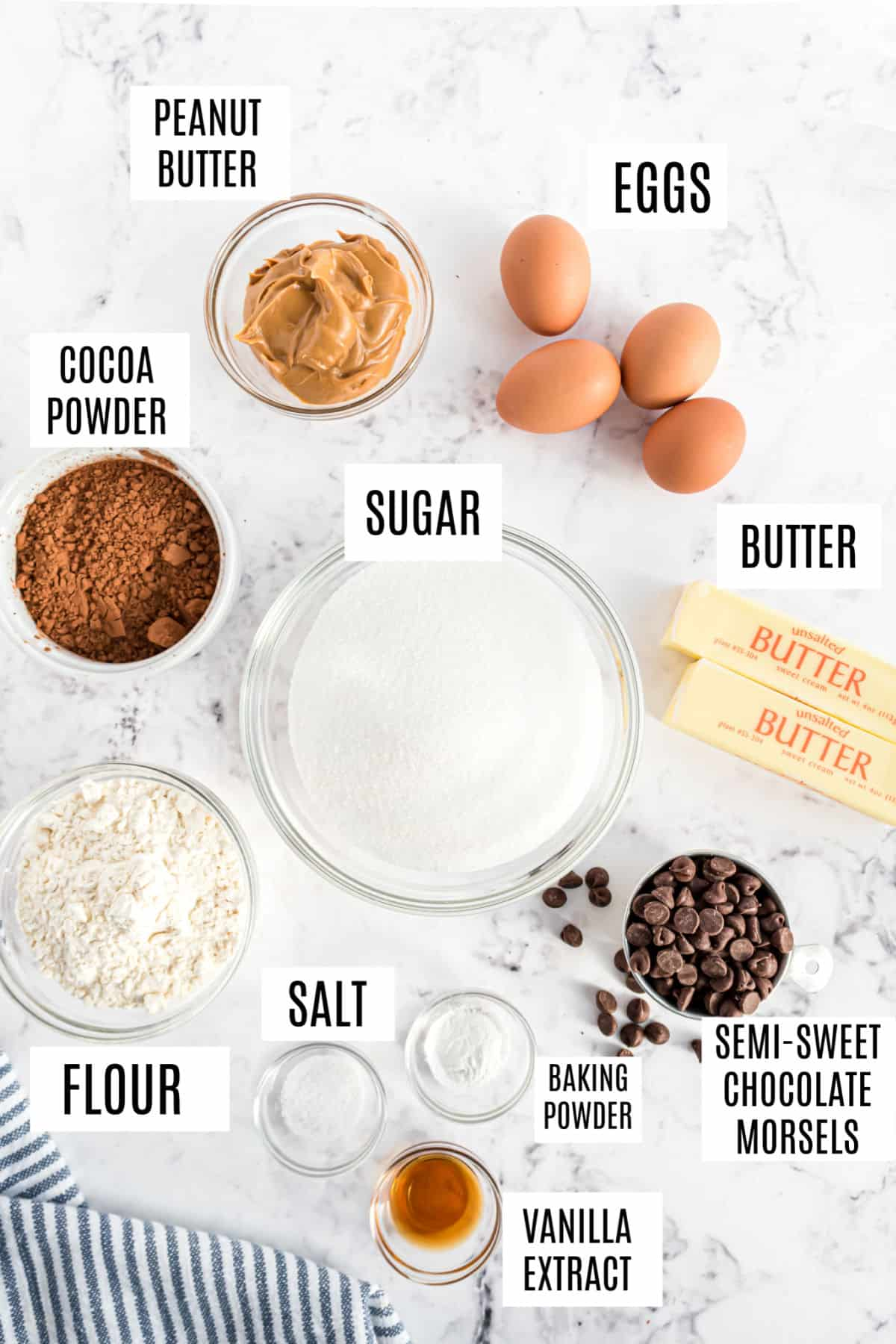Ingredients needed to make peanut butter swirled brownies.