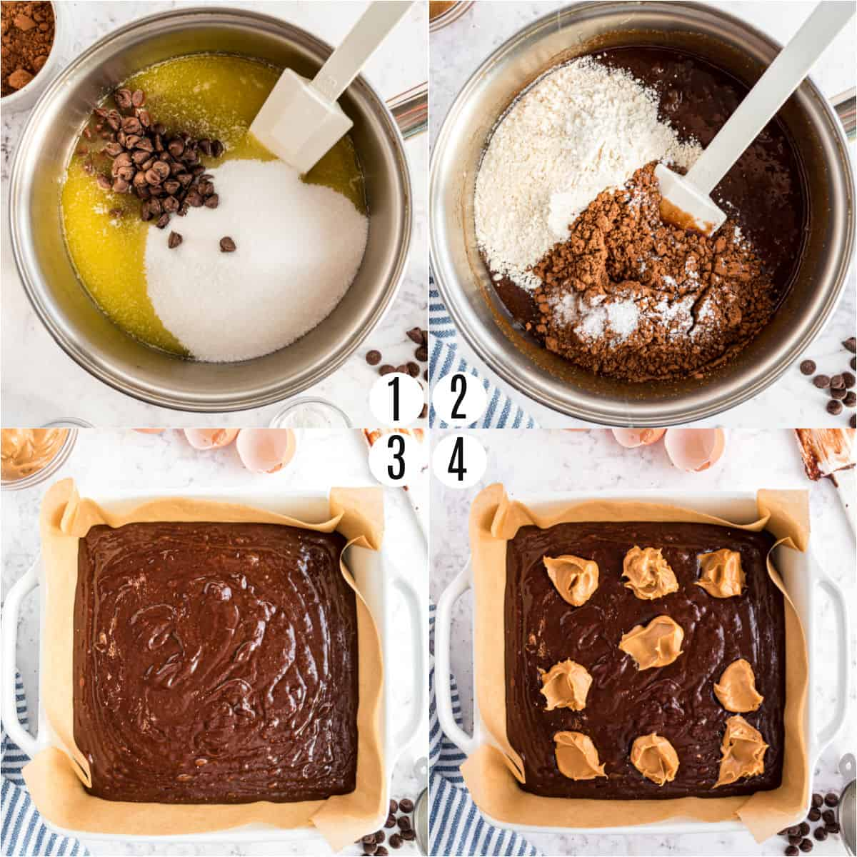 Step by step photos showing how to make peanut butter brownies.