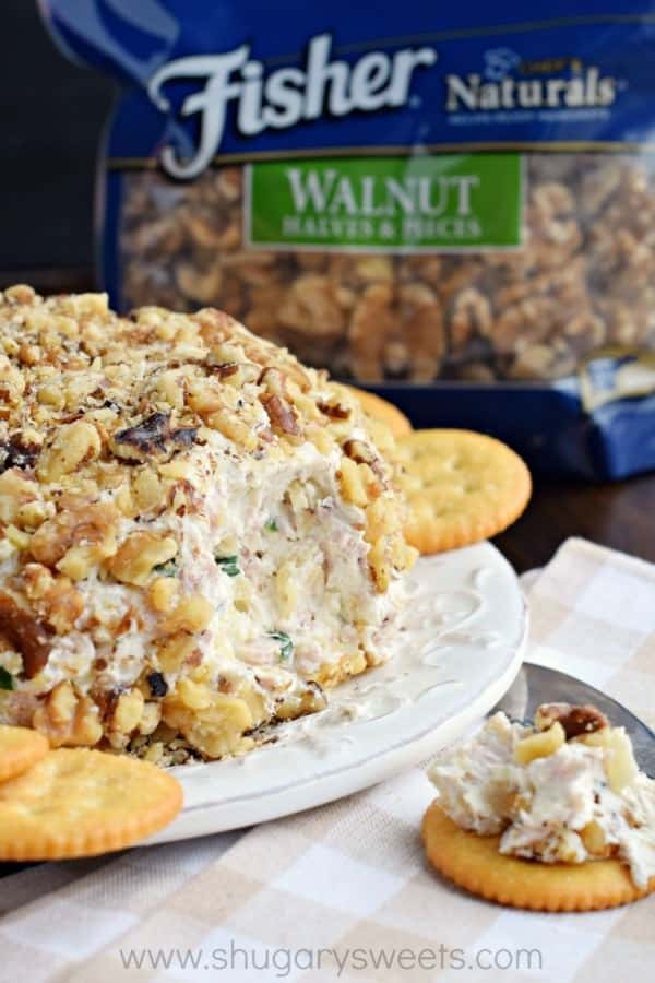 If you're looking for the most delicious game day snack, this Pineapple Ham Cheese Ball recipe is your answer. The sweet, salty, savory snack that keeps you coming back for more! #fisherunshelled