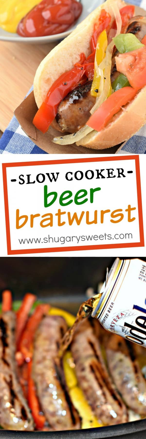 These Slow Cooker Beer Brats are the easiest dinner idea with only ten minutes prep work! My husband said these are better than on the grill!