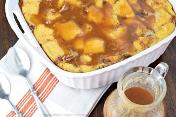 Caramel Bread Pudding has a perfect custard pudding center with a crisp outer crust! Packed with flavor and topped with caramel sauce, this is the dessert you've been craving!