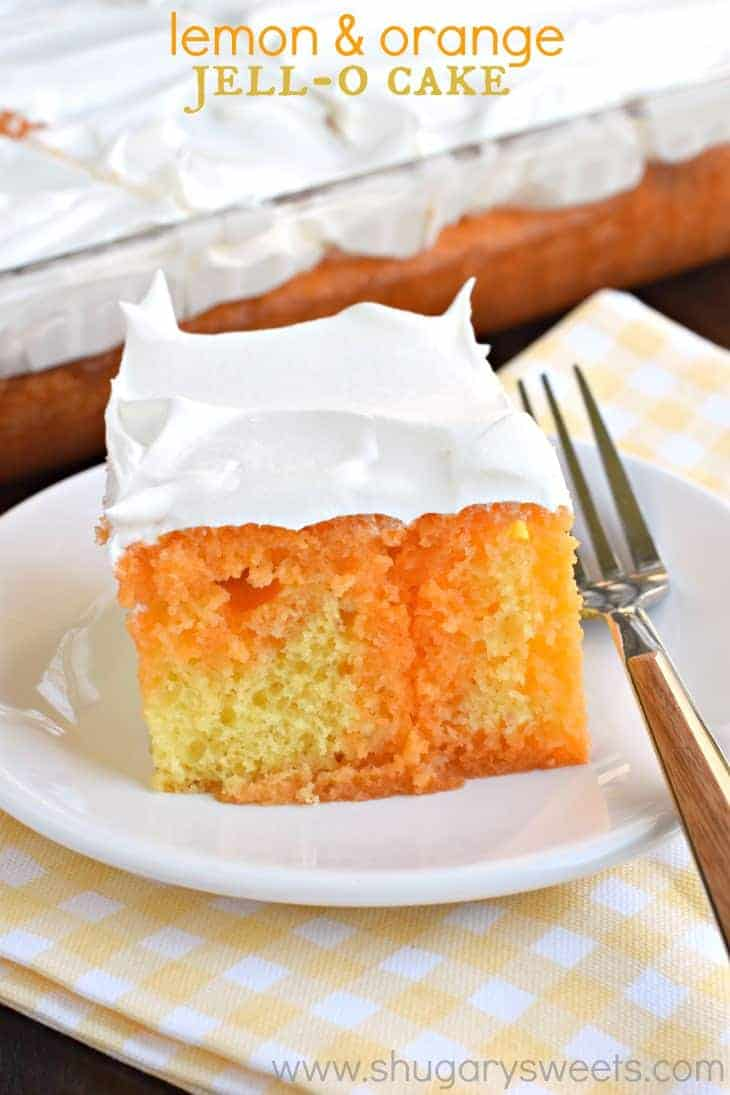 Change up that classic poke cake by making this Lemon Orange JELL-O poke cake! Such a light, refreshing dessert for any time of year!