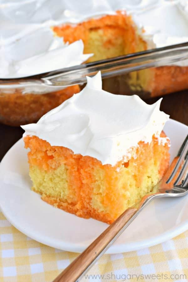 This Lemon Orange JELL-O cake is a refreshing treat at the end of the ...