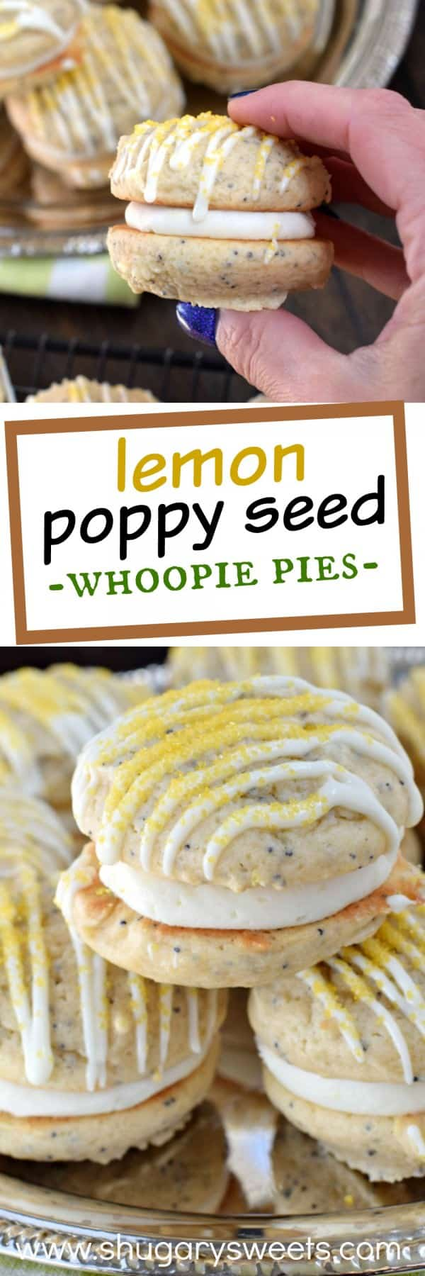 These Lemon Poppy Seed Whoopie Pies are a soft and chewy cookie with a sweet and tangy citrus filling! Your tastebuds are going to sing!