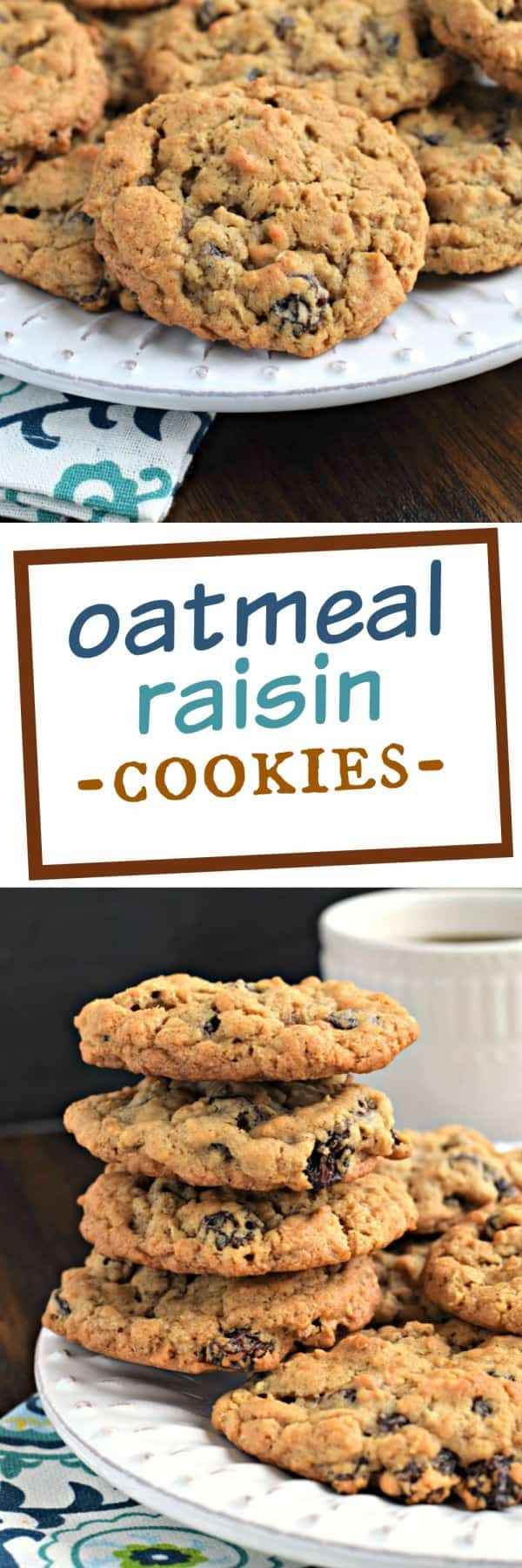 Soft and chewy, old fashioned Oatmeal Raisin Cookies with a hint of cinnamon and nutmeg! Delicious, homemade cookies like you enjoyed in childhood!