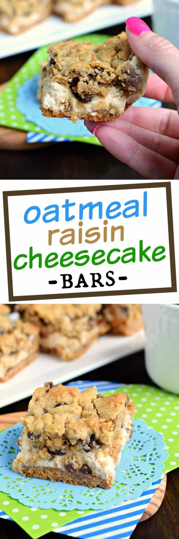 Soft and chewy oatmeal raisin cookie on top of a creamy cheesecake bar! These Oatmeal Raisin Cookie Cheesecake Bars are delicious, comfort food treats!