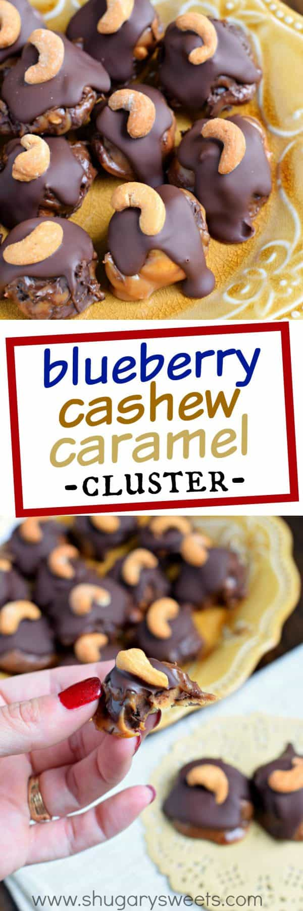 Blueberry Cashew Caramel Clusters with DOVE Chocolate - Shugary Sweets