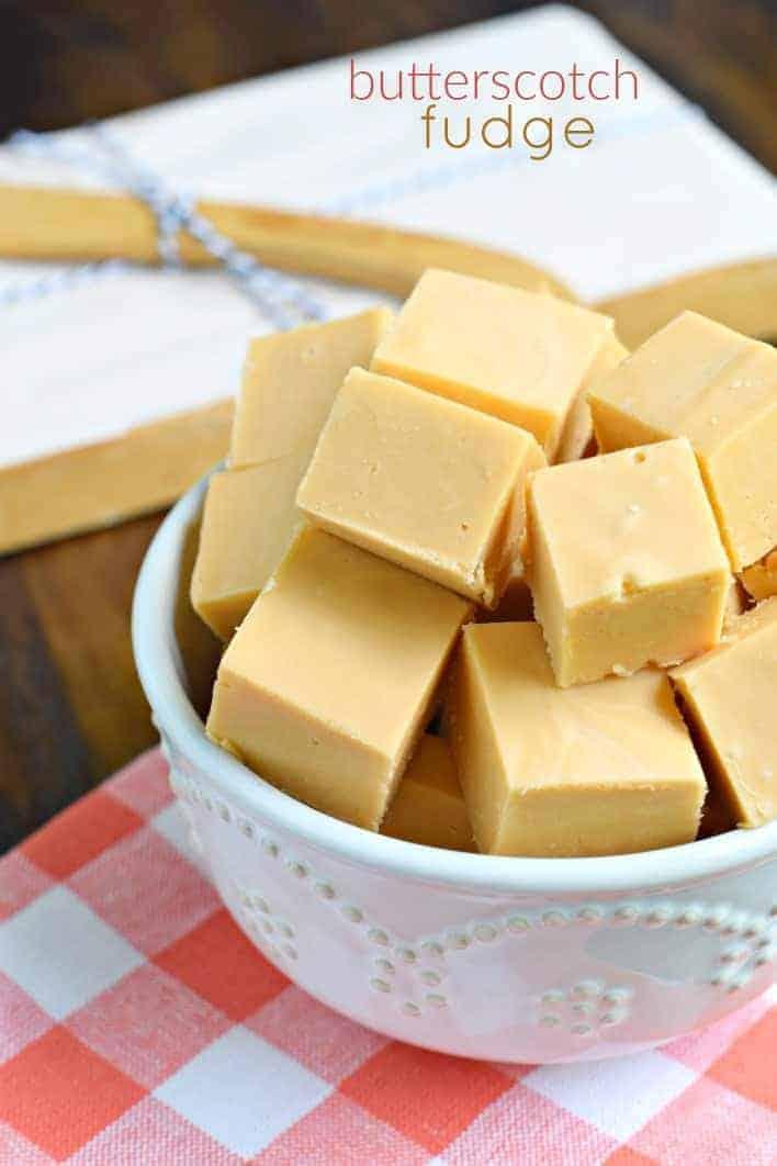 Butterscotch fudge in white bowl.