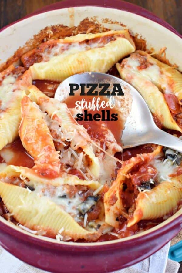 If you love easy, delicious dinner ideas, these Pizza Stuffed Pasta Shells are for you! All the great flavor of a pizza, in a make ahead (freezer friendly) pasta dish!