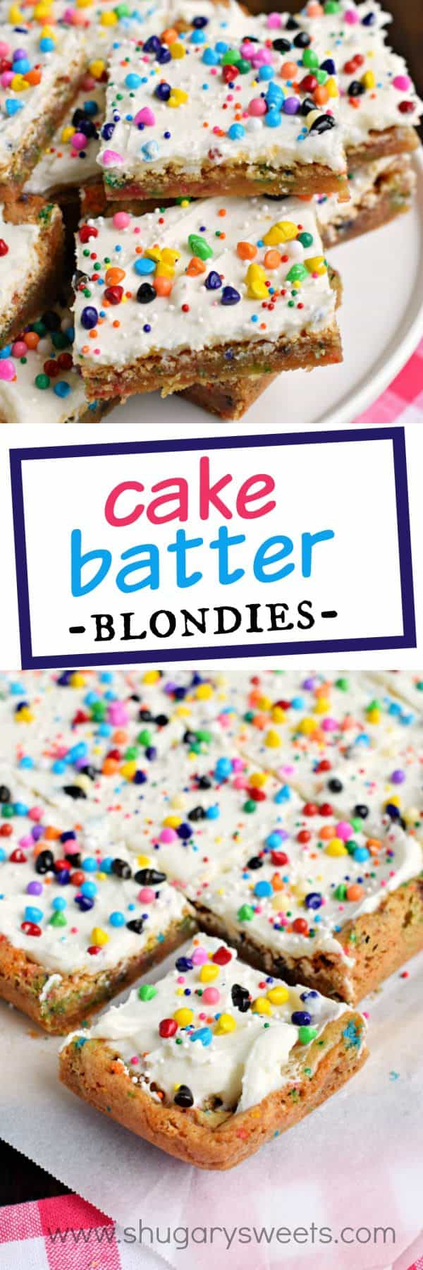 Chewy and butter-rich Cake Batter Blondies are so easy to make! Don't forget to top them with the sweet cake batter frosting too for an over the top dessert!