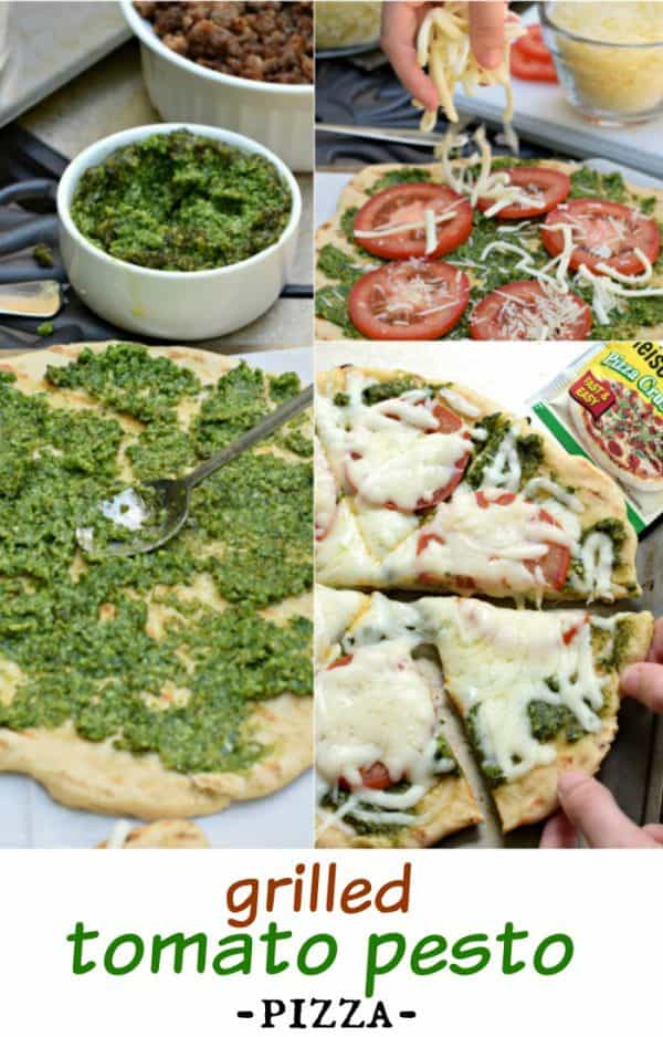 Make your next pizza on the grill with this delicious Tomato Pesto Pizza recipe (includes the perfect crust recipe too)!
