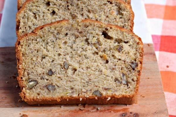 Sweet and nutty, this Zucchini Banana Bread is a great breakfast or dessert. With two loaves coming out of the oven, it's perfect to share or freeze for later!