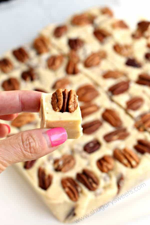 These sweet Butter Pecan Fudge is just like you would get on a vacation. Creamy, buttery flavor that melts in your mouth and finishes with the crunch of pecans!