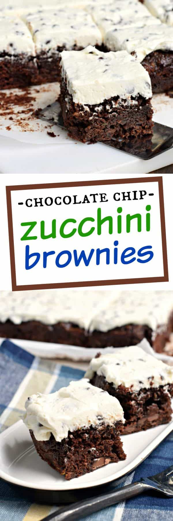 Fudgy, Chocolate Chip Zucchini Brownies with Chocolate Chip Frosting ...