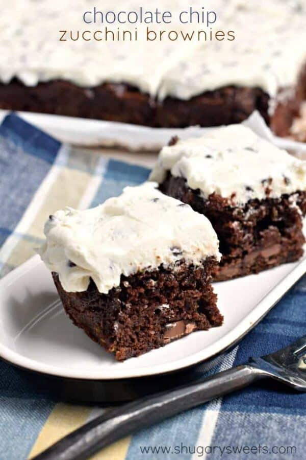 Fudgy Chocolate Chip Zucchini Brownies with Chocolate Chip Frosting ...