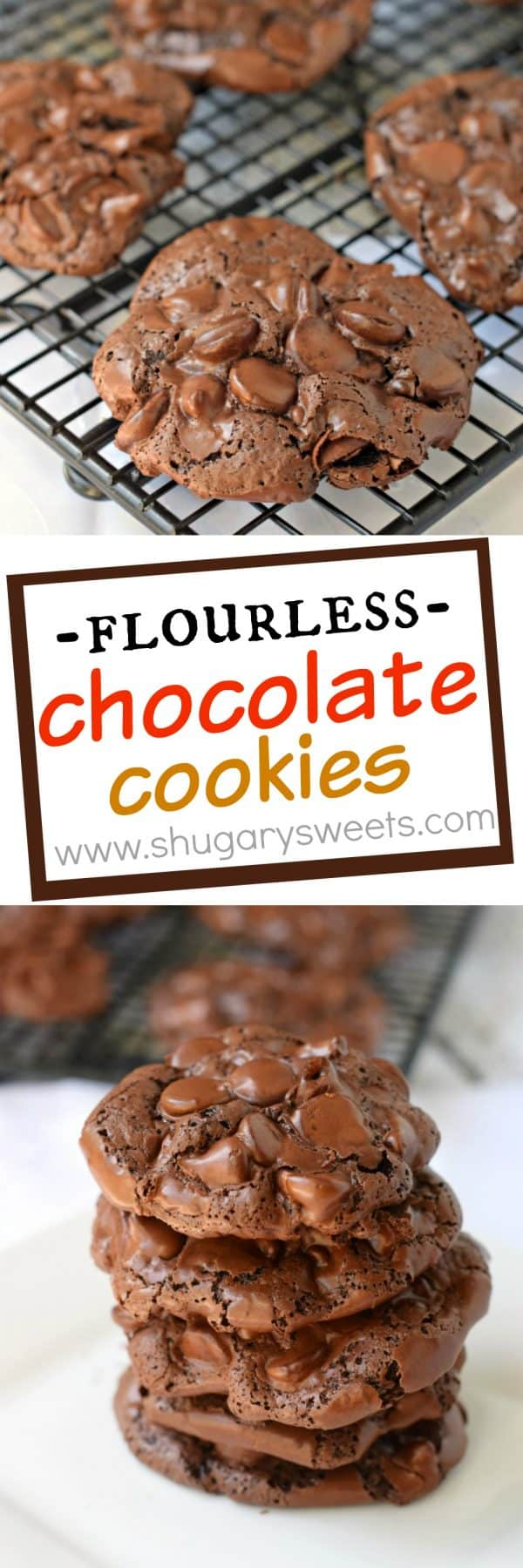 These Flourless Chocolate Cookies are a chewy cookie with a crunchy topping! You'll love the rich chocolate flavor in a unique cookie! Move over Starbucks, we've got a copycat recipe on our hands!