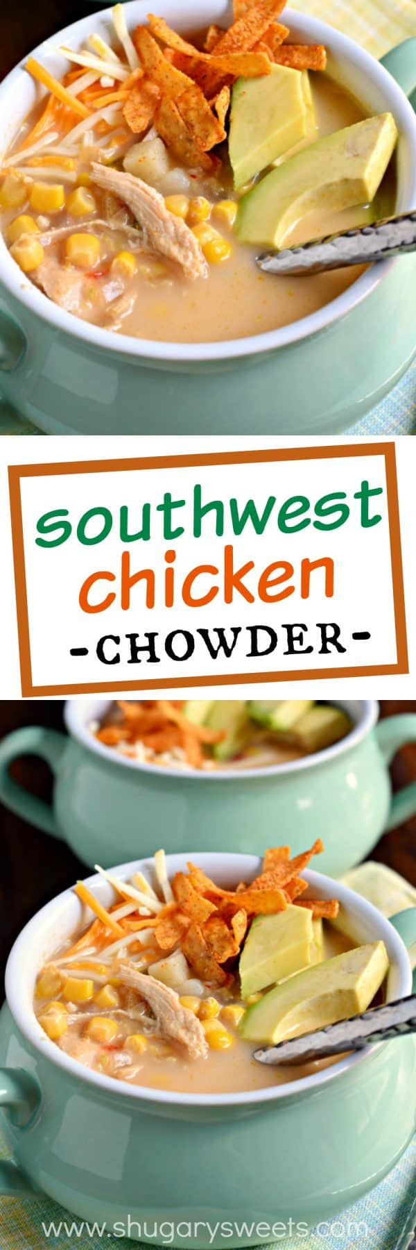 Get our your slow cooker, this Southwest Chicken Chowder is a fix and forget it dinner recipe! Packed with potatoes, corn and chicken, you'll love the kick of flavor from the jalapenos, salsa and taco seasoning!