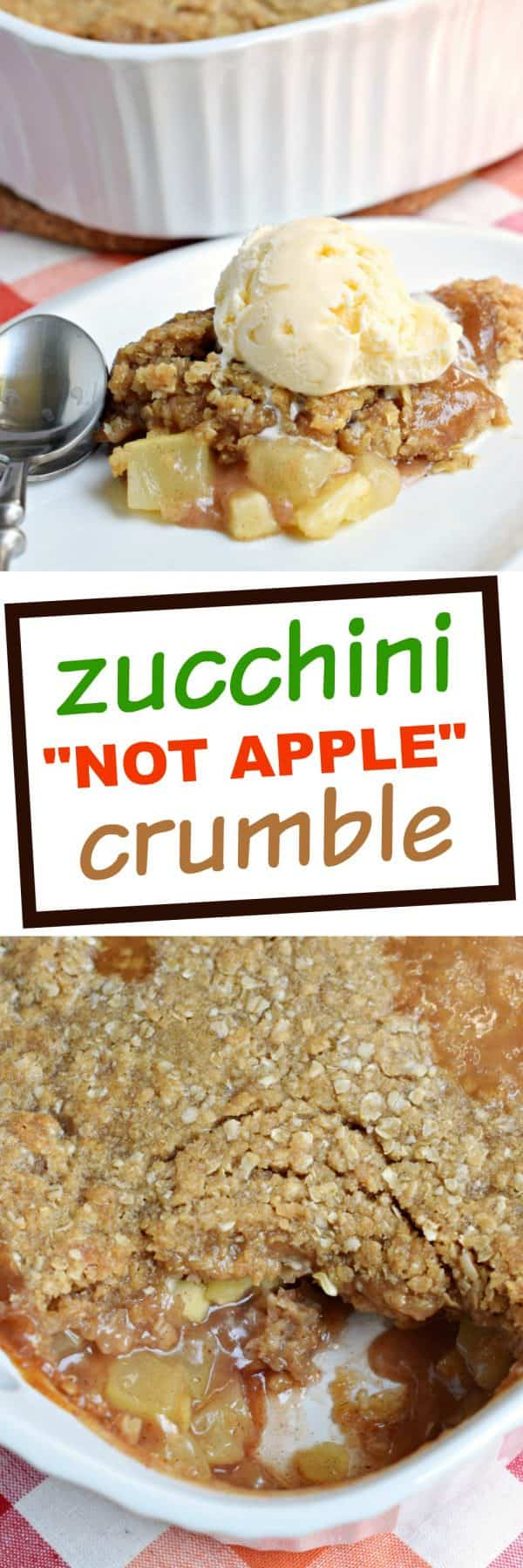 Don't tell anyone, but this hot Zucchini Crumble recipe is like apple pie, but with veggies! Sweet, caramel zucchini with a crunchy cinnamon crumble on top, this is the perfect comfort food dessert!