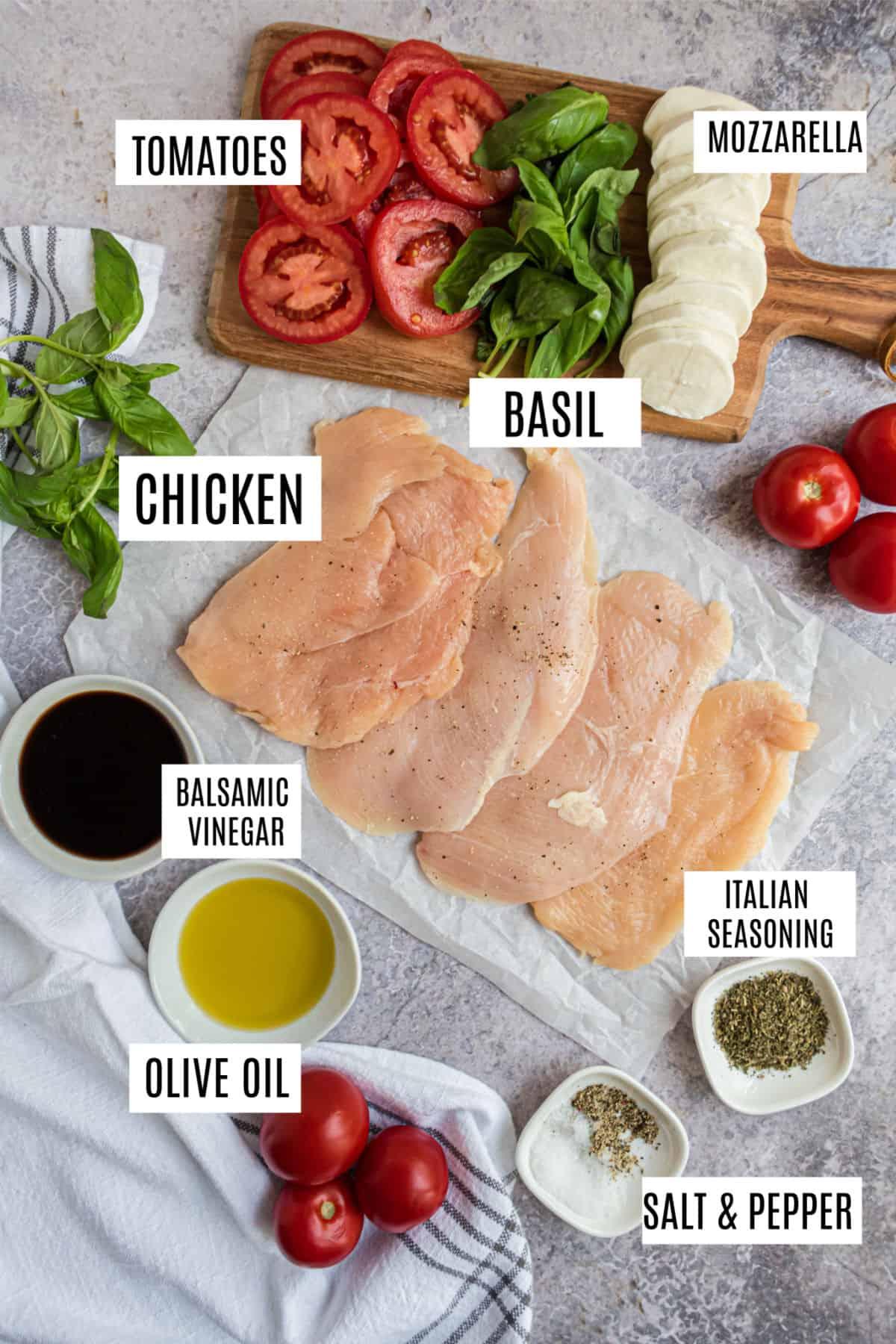 Ingredients needed for chicken caprese skillet recipe.