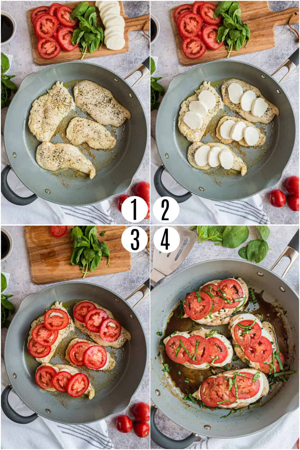 Step by step photos showing how to make chicken caprese in a skillet.