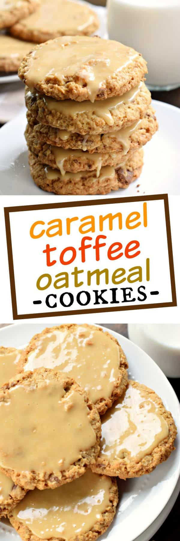These homestyle Iced Caramel Toffee Oatmeal Cookies are better than anything bought in a store! Bake a batch today and watch them disappear!