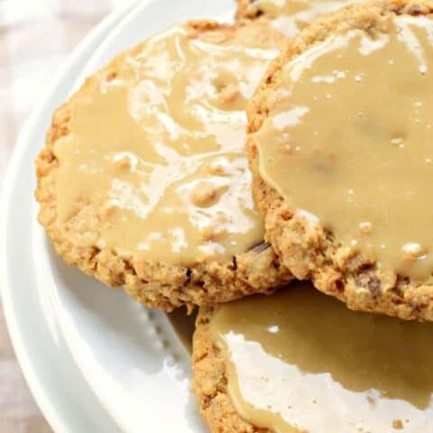 Iced Caramel Toffee Oatmeal Cookies