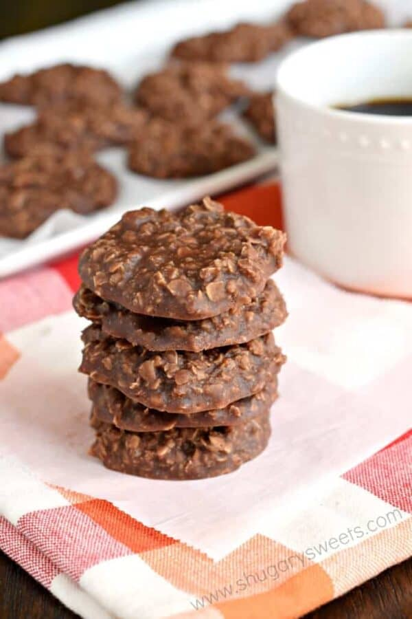 Easy recipe for No Bake Chocolate Cookies! The peanut butter with chocolate and oats gives these cookies so much flavor!